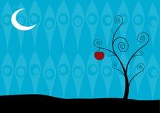 Árbol solo en la noche en fondo azul. Arte del vector stock de ilustración