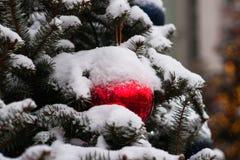 Árbol Spruce adornado para la Navidad Imágenes de archivo libres de regalías