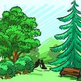 Árbol Spruce y verde en el fondo Parquee, un banco vacío, un par en comida campestre La identidad corporativa se dibuja a mano Imagen de archivo