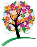 Árbol stylized con las flores Fotos de archivo
