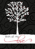 Árbol - tarjeta de felicitación - con todo mi amor Imagen de archivo libre de regalías