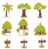 Árbol tropical, casas de planta baja y viejas señales de tráfico de madera, elementos del diseño de vector tropical del paisaje d ilustración del vector