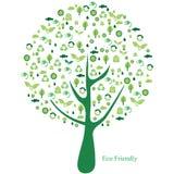Árbol verde con muchos iconos ecológicos Imagen de archivo libre de regalías