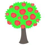 Árbol verde de las historietas, flores rojas, trank marrón en el 'común blanco del illustratioÑ del vector Foto de archivo