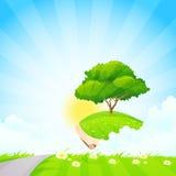 Árbol verde en la isla stock de ilustración