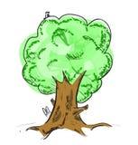 Árbol viejo con el icono de ocultación de la historieta de los animales Foto de archivo libre de regalías