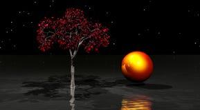 Árbol y agua ilustración del vector