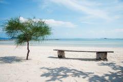 Árbol y banco en la playa imágenes de archivo libres de regalías