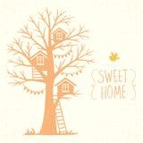 Árbol y casas ilustración del vector