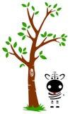 Árbol y cebra ilustración del vector