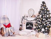 Árbol y chimenea de Navidad con la butaca, los regalos, los relojes y las almohadas Media de la Navidad sobre la chimenea, paisaj imagenes de archivo