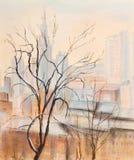 Árbol y ciudad Imagen de archivo libre de regalías