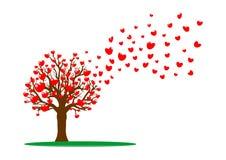 Árbol y corazones rojos Fotografía de archivo libre de regalías