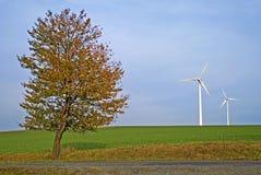 Árbol y dos plantas de la energía eólica Foto de archivo