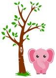 Árbol y elefante Imágenes de archivo libres de regalías