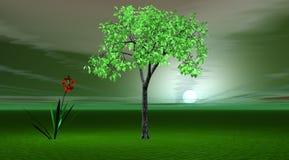 Árbol y flor stock de ilustración