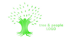 Árbol y gente (proyecto del logotipo) Imagenes de archivo