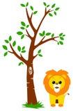 Árbol y león stock de ilustración
