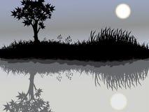 Árbol y luna Foto de archivo libre de regalías