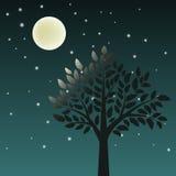 Árbol y luna stock de ilustración