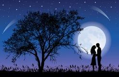Árbol y luna. Imagen de archivo