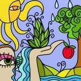 Árbol y manzana Imagenes de archivo