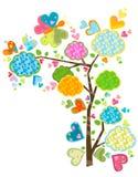 Árbol y mariposas de amor Imagen de archivo libre de regalías