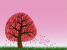 Árbol y mariposas de la tarjeta del día de San Valentín imágenes de archivo libres de regalías