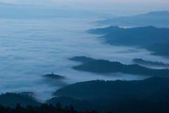 Árbol y montaña de la cubierta de la niebla de la mañana Imágenes de archivo libres de regalías