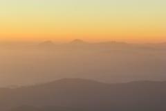 Árbol y montaña de la cubierta de la niebla de la mañana Fotografía de archivo