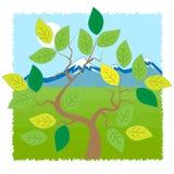 Árbol y montañas libre illustration