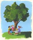 Árbol y niños Imágenes de archivo libres de regalías