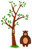 Árbol y oso stock de ilustración