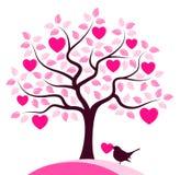Árbol y pájaro del corazón Imagen de archivo libre de regalías