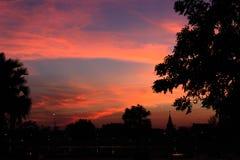 Árbol y pagoda de la silueta en el crepúsculo Imágenes de archivo libres de regalías