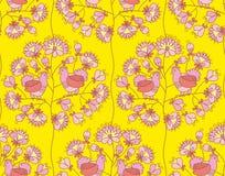 Árbol y paloma campesinos del flor del estilo en amor Illustrati del vector Fotos de archivo libres de regalías