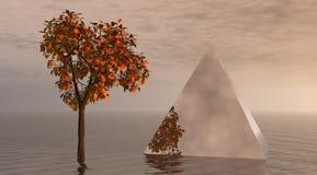 Árbol y pirámide stock de ilustración