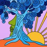 Árbol y sol azules stock de ilustración