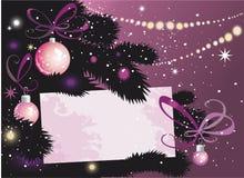 Árbol y tarjeta de la Nochebuena Foto de archivo libre de regalías