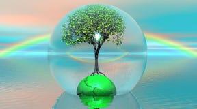 Árbol y tierra verdes en una burbuja ilustración del vector