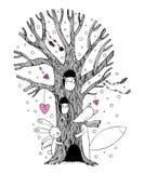 Árbol, zorro, ángel de las liebres y búho mágicos hermosos libre illustration
