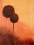 Árboles abstractos de la pintura stock de ilustración