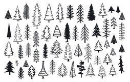 Árboles abstractos lindos de la aguja de la Navidad del abeto del pino de la conífera stock de ilustración