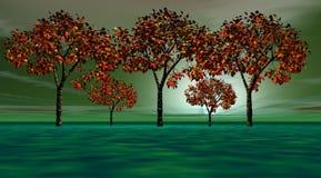 Árboles anaranjados stock de ilustración