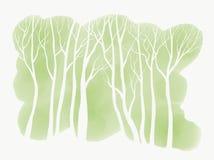 Árboles blancos simples en fondo verde del Watercolour stock de ilustración