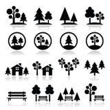 Árboles, bosque, iconos del parque fijados Fotografía de archivo