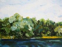Árboles cerca de la pintura al óleo del agua Imagen de archivo