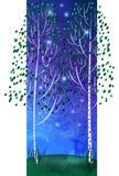 Árboles, cielo nocturno Imágenes de archivo libres de regalías