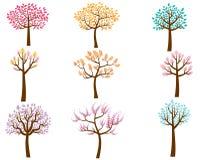 Árboles coloridos de la historieta Imagen de archivo libre de regalías