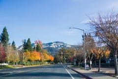 Árboles coloridos que se alinean un camino a través de Danville, cumbre del Mt Diablo en el fondo Imagen de archivo libre de regalías